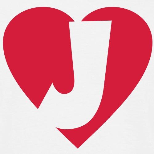 Herz J I love J Buchstabe J - Männer T-Shirt