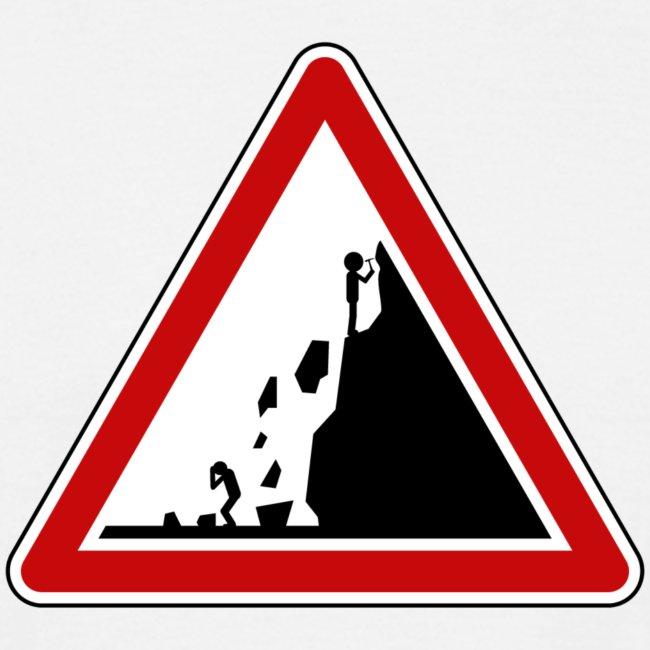 Warning falling rocks sign