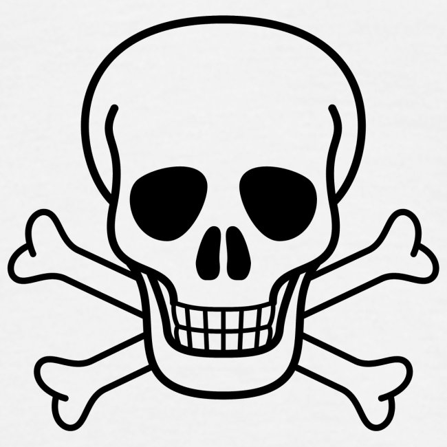 skull and cross bones BLACK