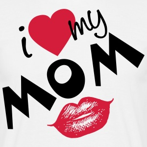 I love my Mom (vector) your Color - Men's T-Shirt