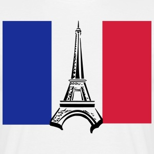 Eiffel Tower with Flag - Men's T-Shirt