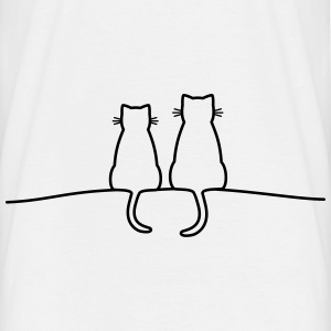 seated cat - white - Men's T-Shirt