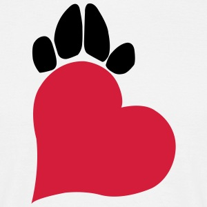 Heart and paw - red and black - Men's T-Shirt