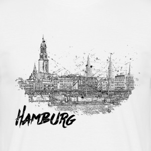 Hamburg City skitse - Herre-T-shirt