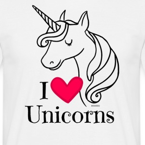 I Love Unicorns T Shirt - Heart Tee in Black - Men's T-Shirt