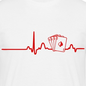 EKG HEART LINE POKER red - T-shirt herr