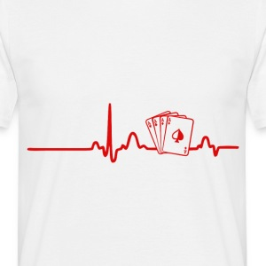 EKG Heart Line Poker, Cards - Mannen T-shirt