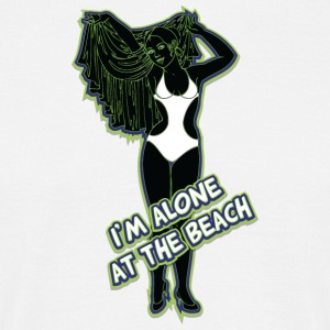 I am alone at the beach black green - Men's T-Shirt