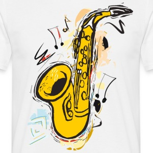 Sax Sparkling Sketch Drawing - Mannen T-shirt