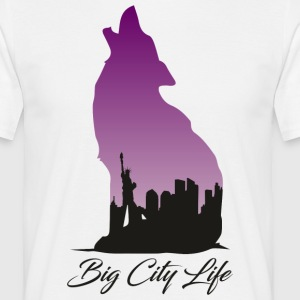 Wolf i New York Design - Big City Life - Herre-T-shirt