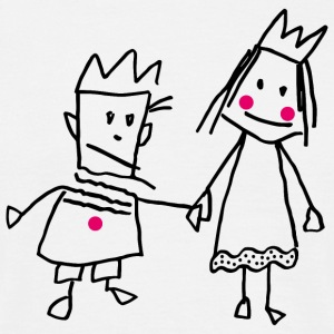 Stick Figure Queen Princess KingQueen couple - Men's T-Shirt