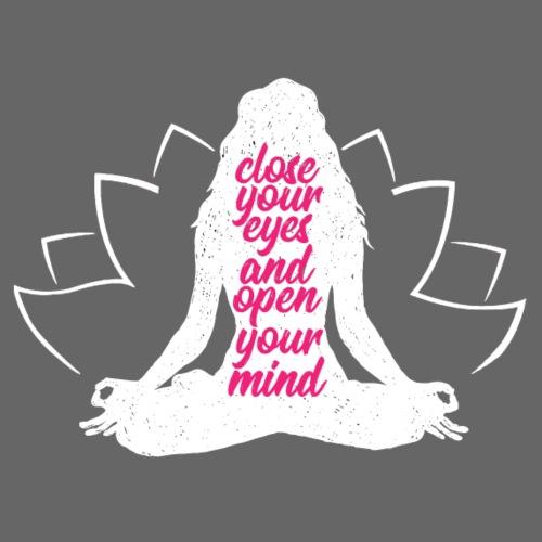 CLOSE YOUR EYES rosa YOGA PEACE LOVE SPORT ART - Maglietta da uomo