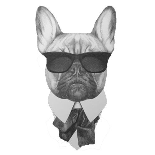 Bulldog i kostym - T-shirt herr