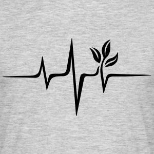 Vegan pulse, plant, frequency, heartbeat, beat, V - Men's T-Shirt