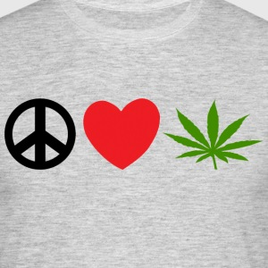 Peace Love Marijuana Cannabis Weed Pot - T-skjorte for menn