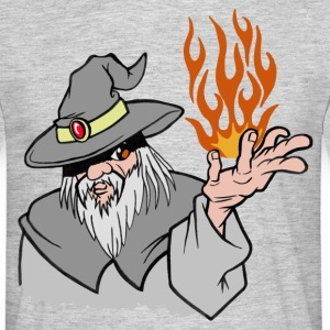 Willpower Wizard Grey / Orange Flame - No Text - Men's T-Shirt