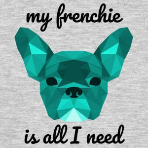 Lav Poly Frenchie cyan - Herre-T-shirt