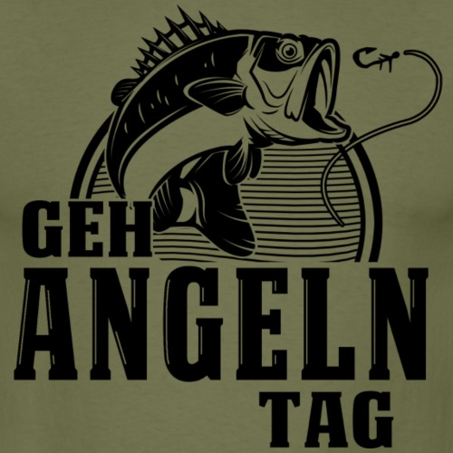 Geh Angeln Tag Schwarz - Männer T-Shirt