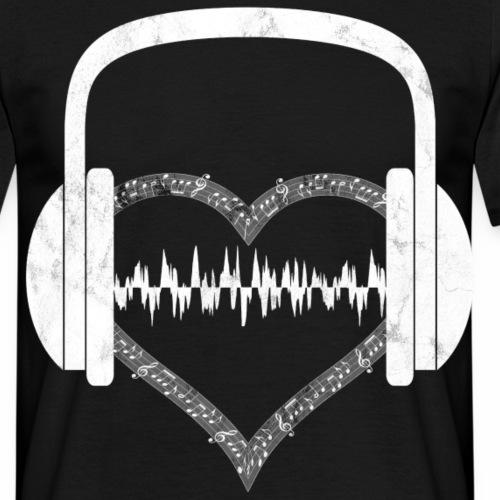 Herzschlag Kopfhörer Herz Beat Puls Shirt Geschenk - Männer T-Shirt