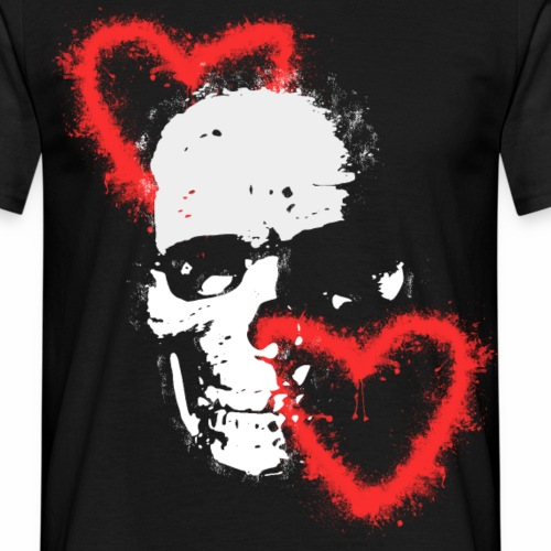 Totenschädel Herzen Liebe Geschenk Ideen - Männer T-Shirt