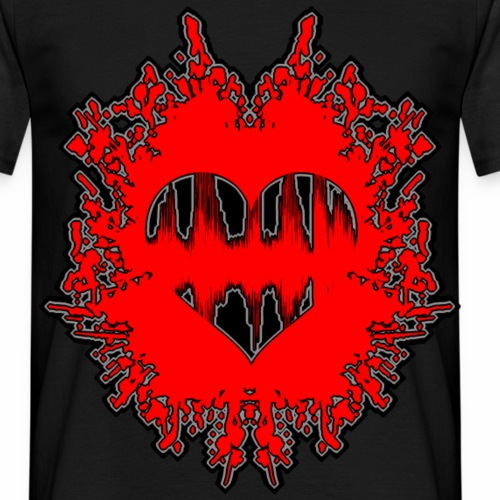 Herzschlag Heartbeat Dot Klecks Geschenk Ideen - Männer T-Shirt