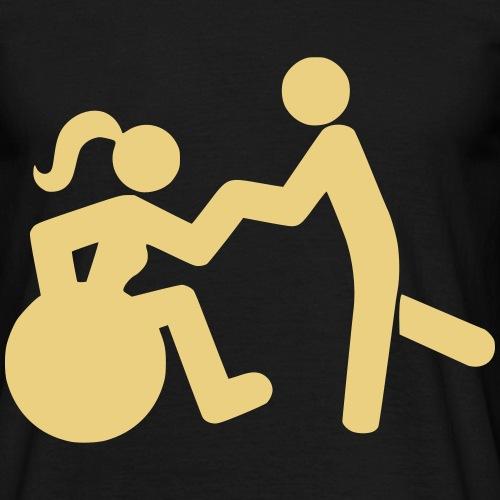 Afbeelding van vrouw in rolstoel die danst met man - Mannen T-shirt