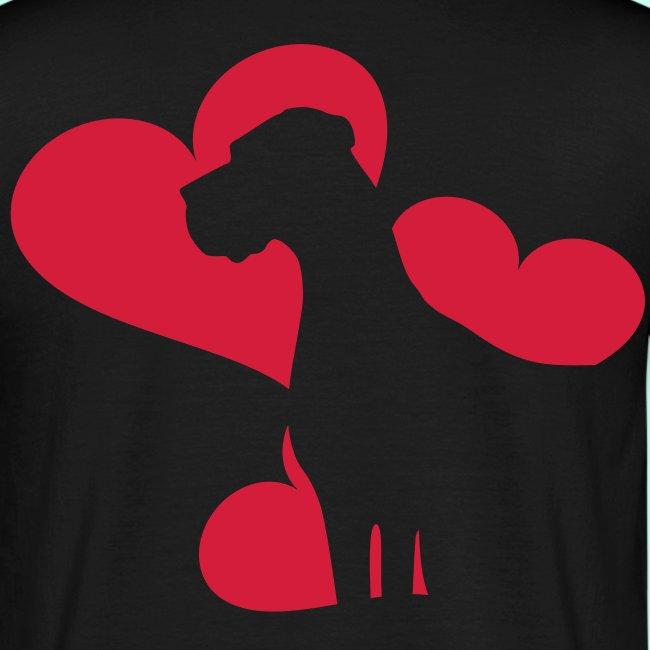 Dezente Doggen Herzen T-Shirts