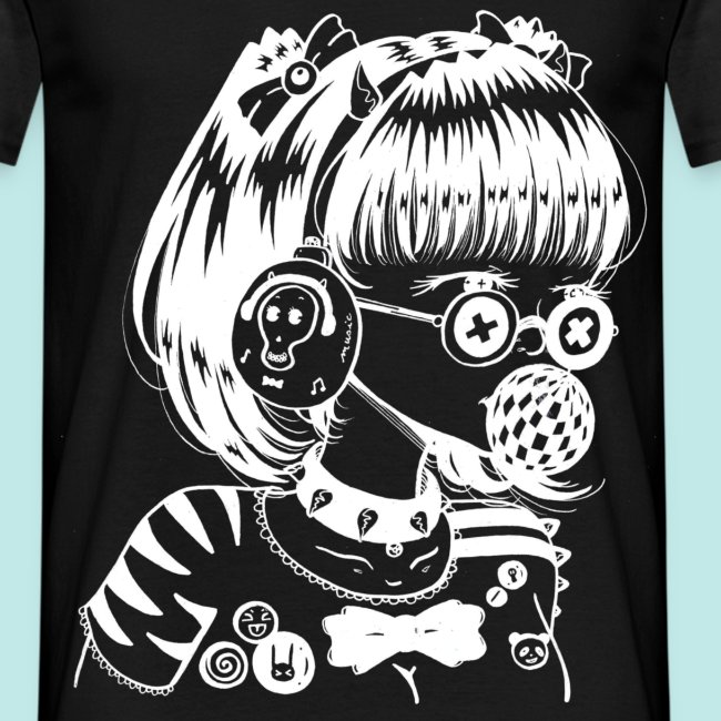 Fille Manga Casque Musique Lunettes Rock Blanc Männer T Shirt