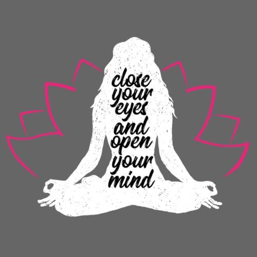 close your eyes white yoga peace love sport art - Maglietta da uomo