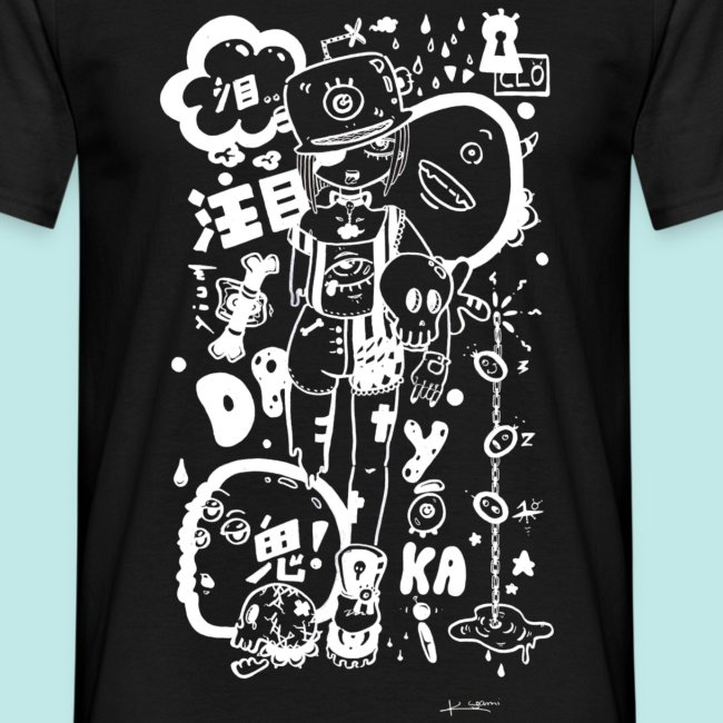 Fille Manga Dark Avec Monstres Rock Kawaii Blanc T Shirt Homme