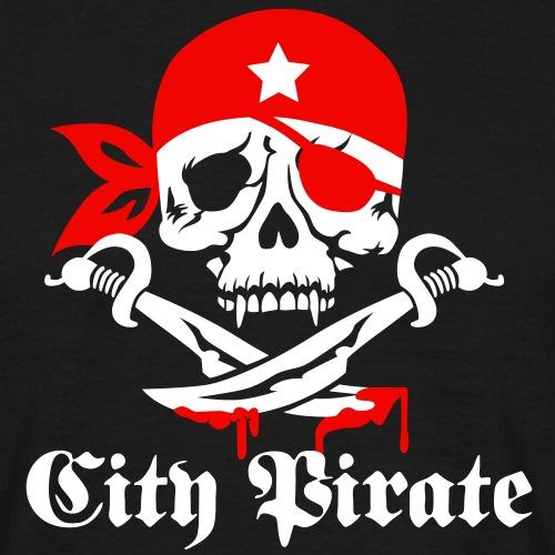 05 skull totenkopf city pirate Design 2c - Männer T-Shirt