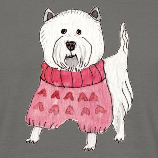 westie with sweater