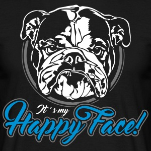 English Bulldog happyface 2 - Men's T-Shirt