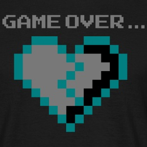 Game Over. Broken Pixel Heart hopeloos verliefde - Mannen T-shirt