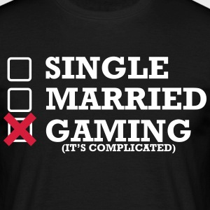 Single - Married - Gaming - Männer T-Shirt