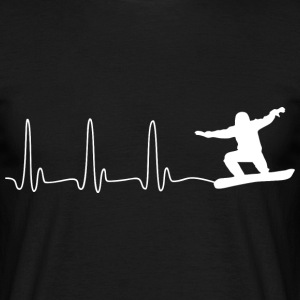 ECG HEART LINE SNOWBOARD white - Men's T-Shirt
