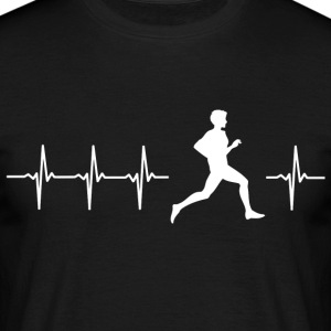 I love running (running heartbeat) - Men's T-Shirt