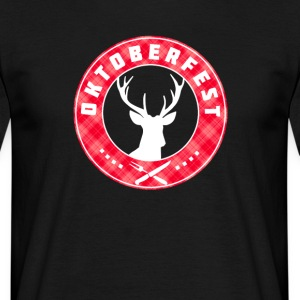 Oktoberfest red antlers crest around Bayern symbol - Men's T-Shirt