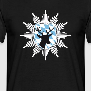 Bavaria coat of arms hirschjagd police tracht lederhosn - Men's T-Shirt