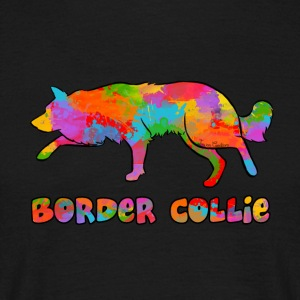 Border Collie Rainbow sky - T-shirt herr