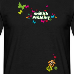 Finally spring blossoms butterflies Easter - Men's T-Shirt