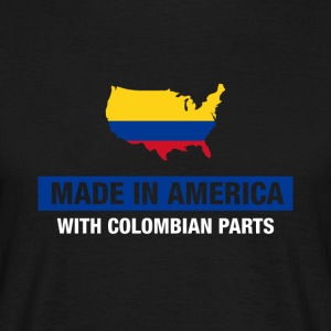Made In America With Colombian Parts Colombia Flag - T-shirt herr