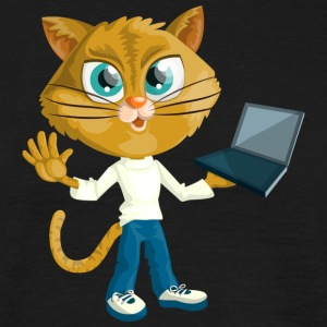 Katt med laptop - T-shirt herr