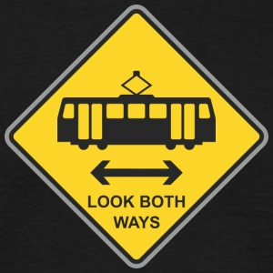 Road Sign look both ways - Men's T-Shirt