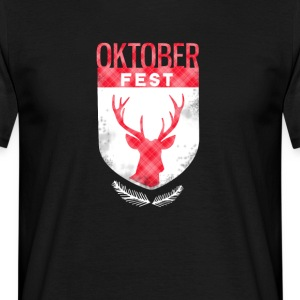 oktoberfest-wappen_rot antlers beer checkered bayern - Men's T-Shirt
