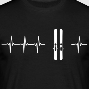 I love skiing (ski heartbeat) - Men's T-Shirt