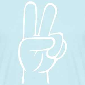 Peace Hand Outline White - Männer T-Shirt