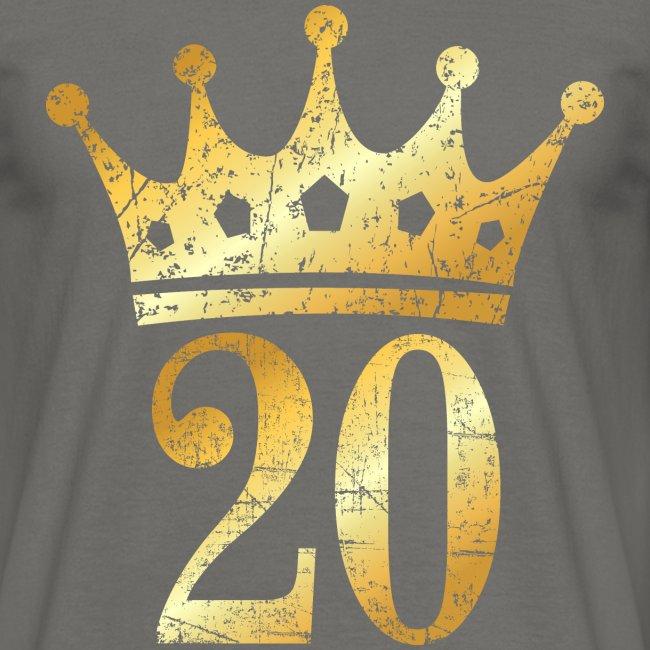 20 Geburtstag Krone Vintage Goldgelb Männer T Shirt