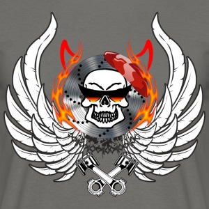 Skull Wings Flames hornene kolbe briller - T-skjorte for menn