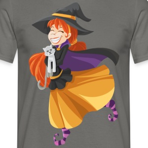 Cat with Witch - Men's T-Shirt